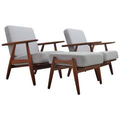 Pair of GE-240 Lounge Chairs with Ottoman by Hans J. Wegner for GETAMA