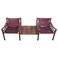 """Arne Norell Rosewood and Leather """"Sirocco"""" Safari Chairs with Side Table"""