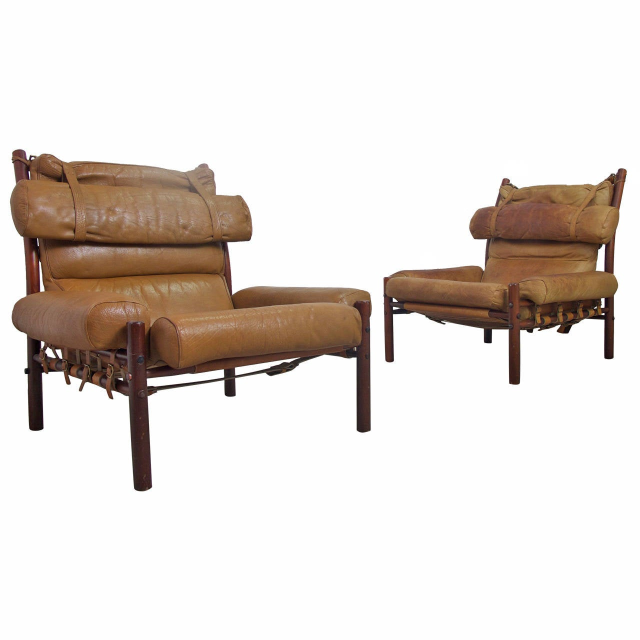 pair of arne norell inca easy chairs in light brown. Black Bedroom Furniture Sets. Home Design Ideas