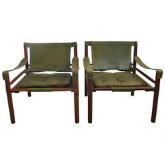 "Arne Norell Rosewood and Leather ""Sirocco"" Safari Chairs"