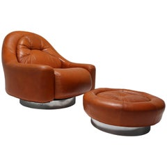Guido Faleschini Leather and Chrome Midcentury Lounge Chair