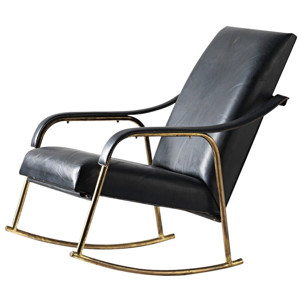 Leather covered rocking chair s at stdibs