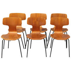 Dining Chairs, Model 3103, in Teak by Arne Jacobsen and Fritz Hansen, 1970s