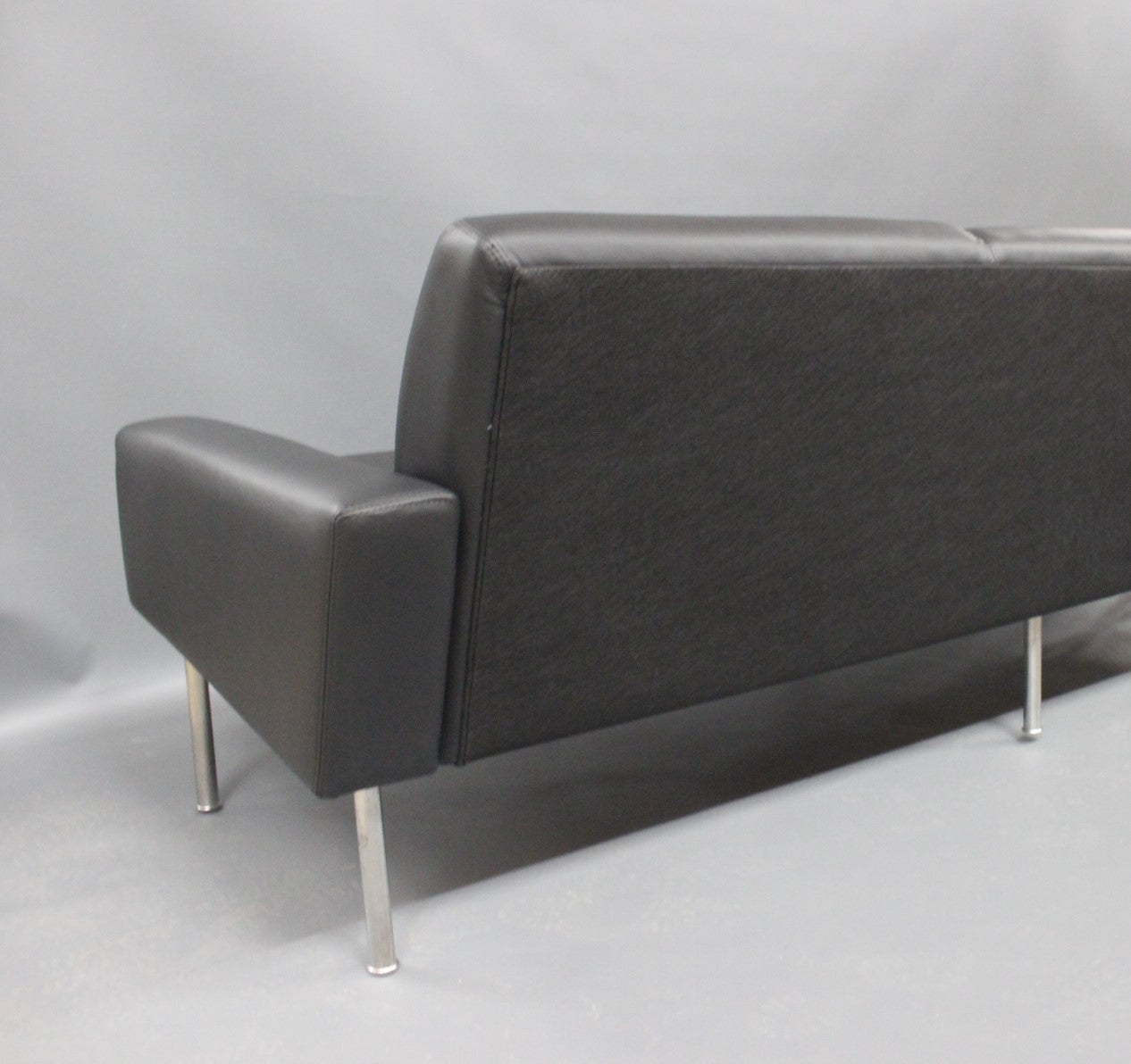Danish Three-Seat Sofa, Model 34/3, by Hans J. Wegner in Black Savanne Leather, 1960 For Sale