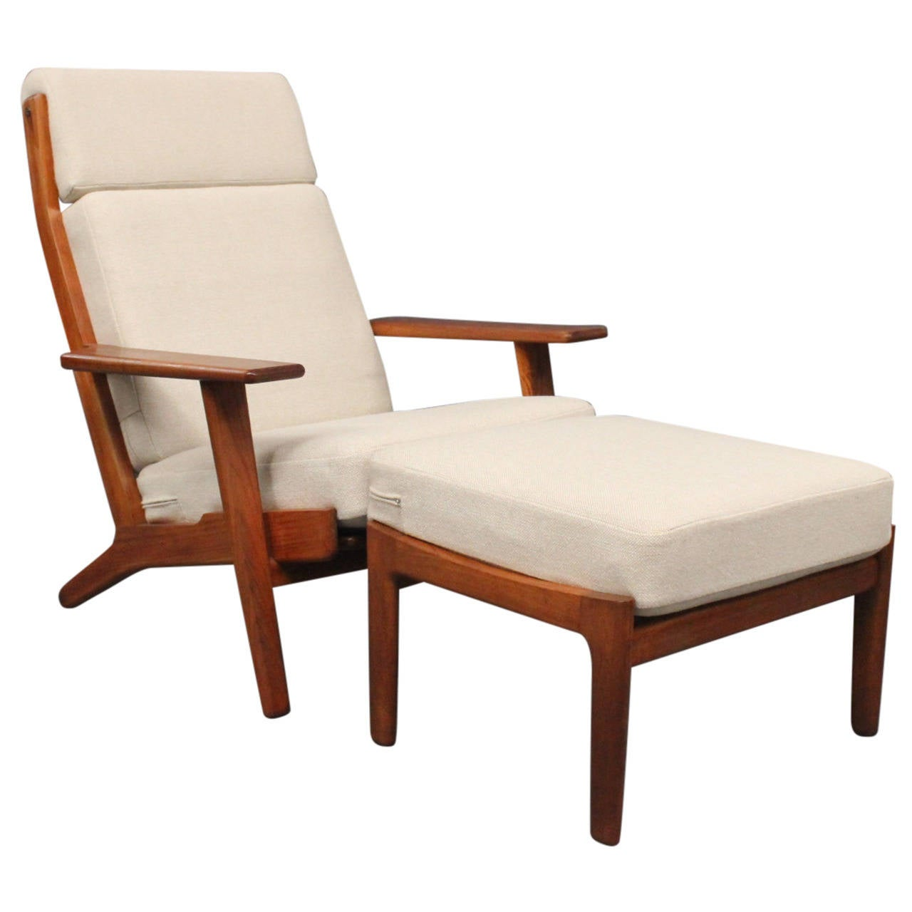 hans j wegner lounge chair with footstool model ge in teak  - hans j wegner lounge chair with footstool model ge in teak