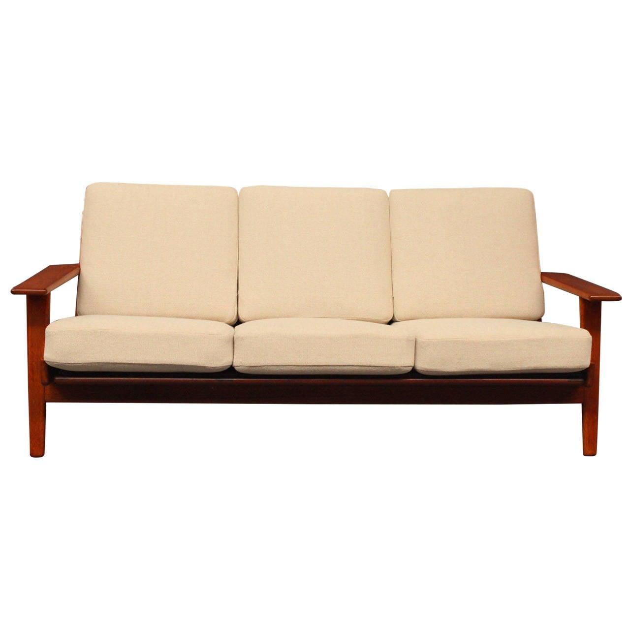 hans j wegner ge290 sofa in teak from 1960 at 1stdibs. Black Bedroom Furniture Sets. Home Design Ideas
