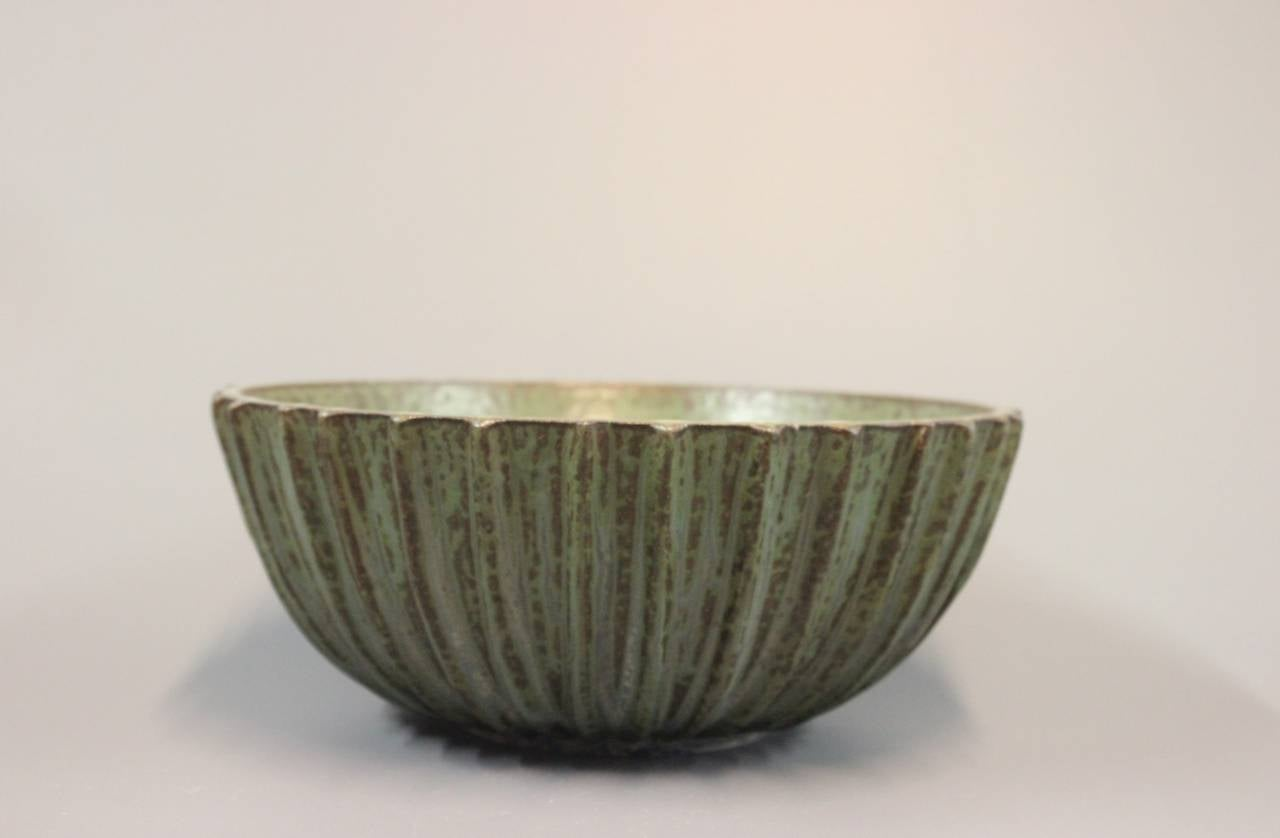 Designed and made by Arne Bang Stoneware Ribbed Bowl with Monogram 189. c. 1930s.