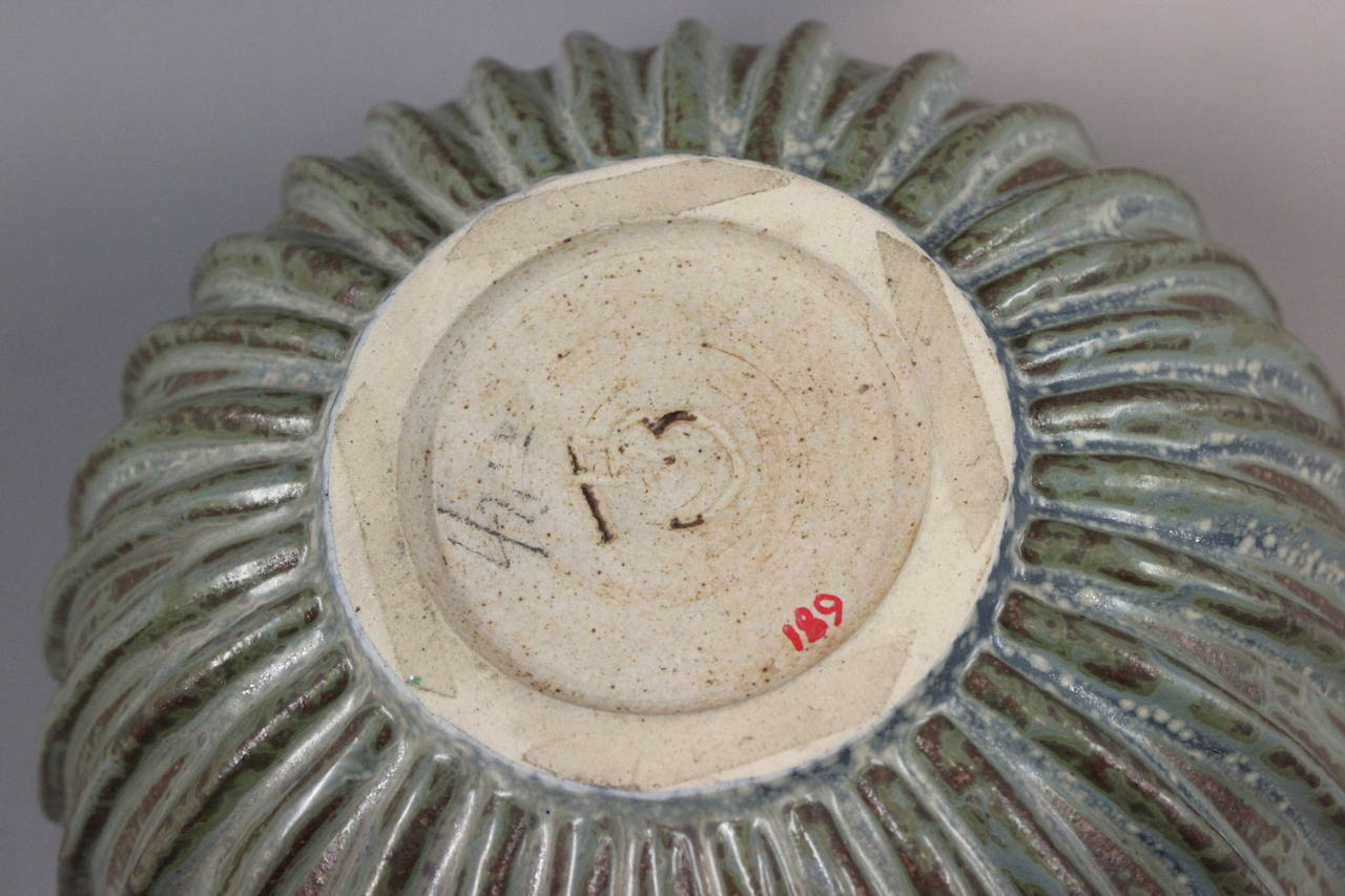Danish Arne Bang Stoneware Ribbed Bowl with Monogram