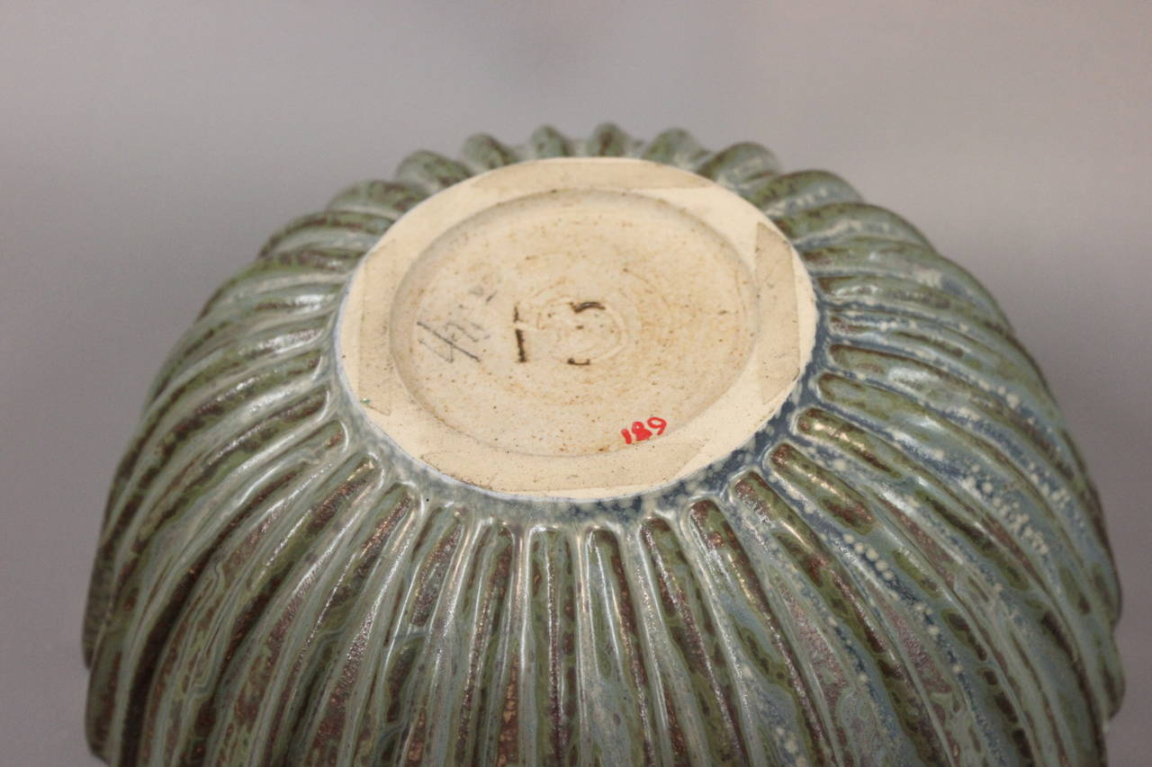 20th Century Arne Bang Stoneware Ribbed Bowl with Monogram