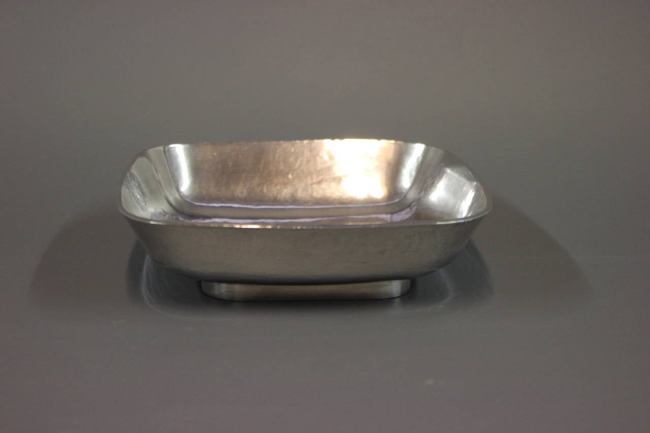 Mid-Century Modern Unique Square Silver Bowl by AO, Ringby 925s, circa 1940-1960 For Sale