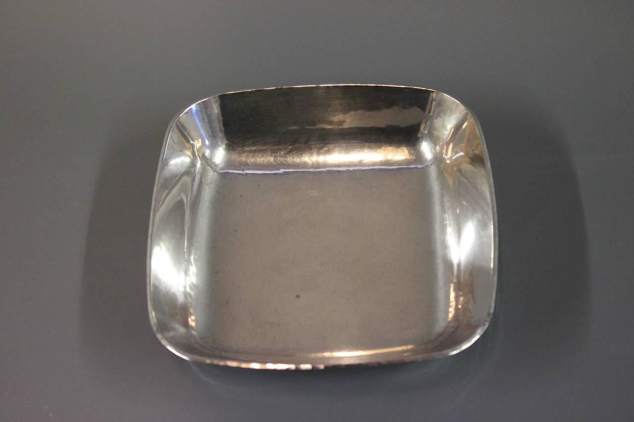 Swedish Unique Square Silver Bowl by AO, Ringby 925s, circa 1940-1960 For Sale