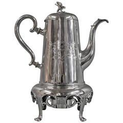 Anton Michelsen Unique Coffee Pot in Real Three Tower Silver, c. 1854
