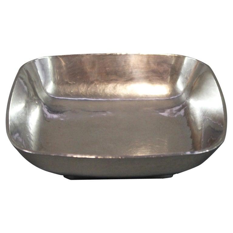 Unique Square Silver Bowl by AO, Ringby 925s, circa 1940-1960 For Sale