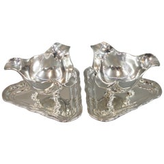 Pair of Sauce Boats on Feet by Sofus Hansen in 835 Silver, 1930s