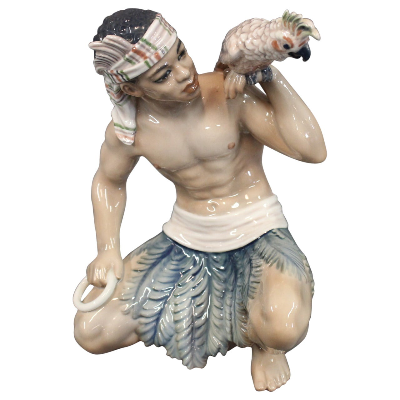 Oriental Porcelain Figurine, Sundanese Man, No 1305 by Dahl Jensen