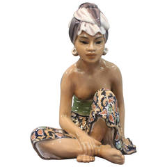 Oriental Porcelain Figurine, Bali Woman, No 1136 by Dahl Jensen