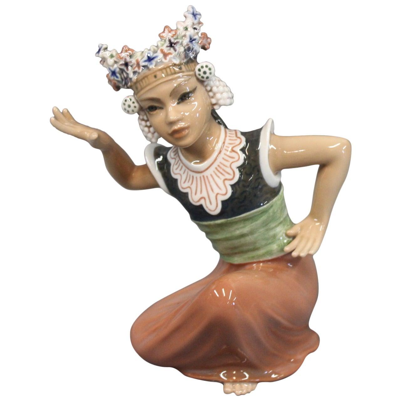 Oriental Porcelain Figurine, Moulia Dancer, No. 1325, by Dahl Jensen