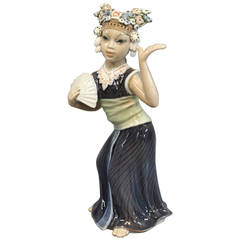 Oriental Porcelain Figurine, Aju Sitra Dancer, No: 1322 by Dahl Jensen