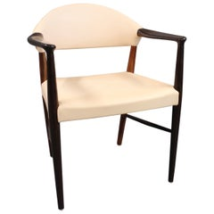 Armchair in Rosewood and Natural Leather by Kurt Olsen, 1960s