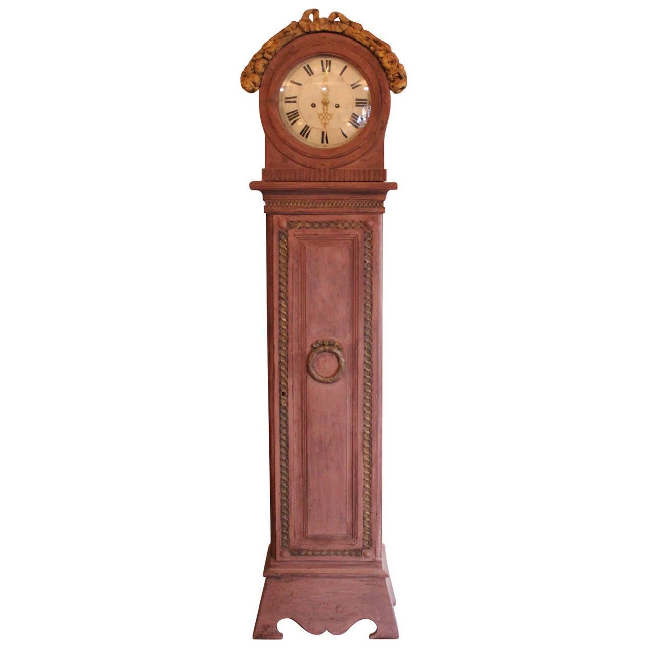 Antique, gustavian painted, danish Longcase Clock, 18th century