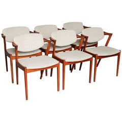 Six Dining Chairs by Kai Kristiansen Model 42 in Teak, 1960s