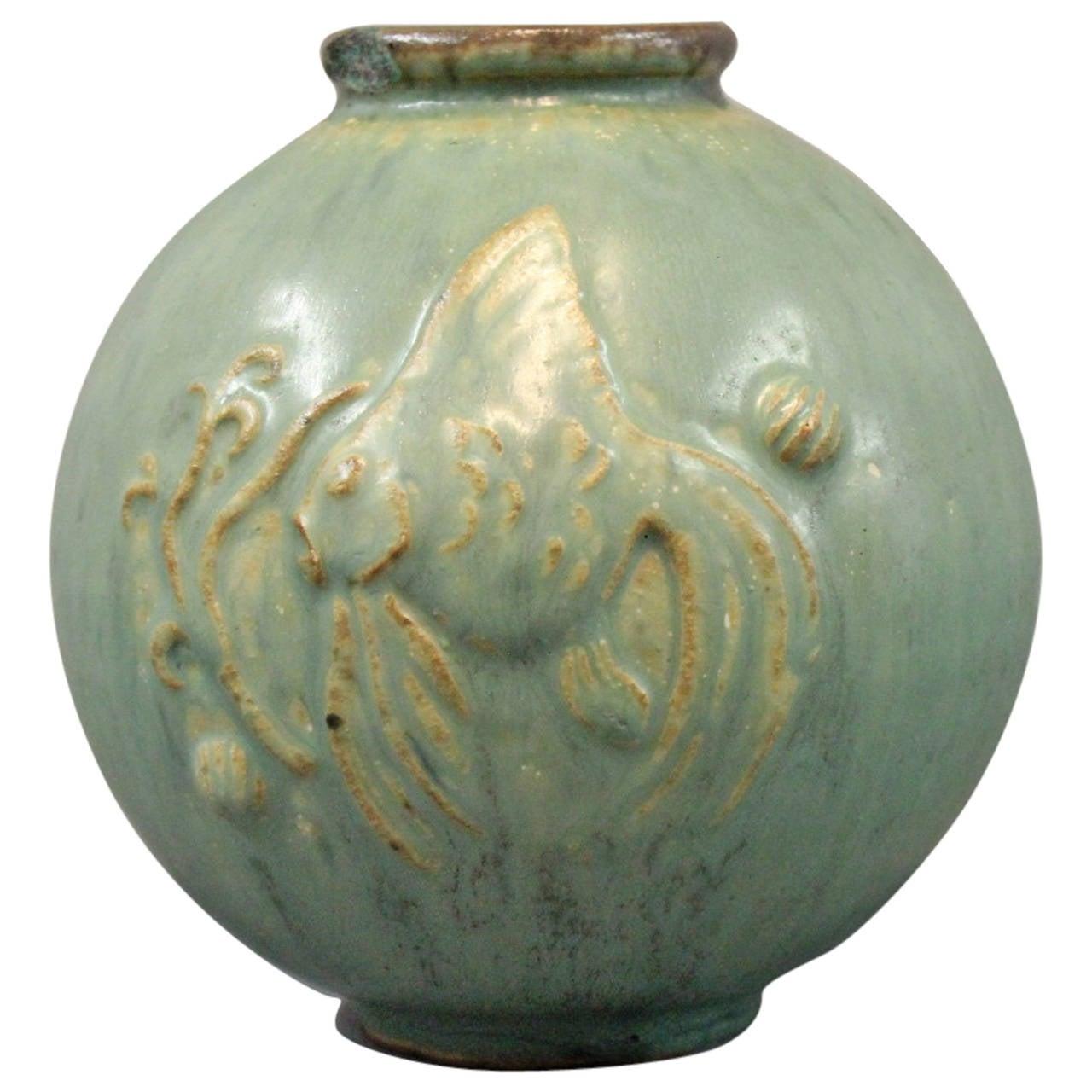 Turquoise ceramic vase, no.: 18 by Arne Bang