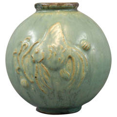 Turquoise Ceramic Vase, No. 18 by Arne Bang