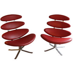 """A pair of Easy Chairs, Model EJ 5 """"Corona"""" Design by Poul M. Volther"""