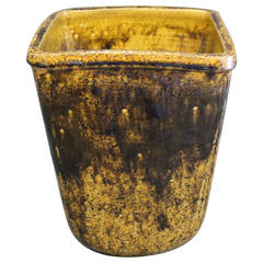 Ceramic Bowl in Brown, Yellow and Green Glaze, Manufactured circa 1950s