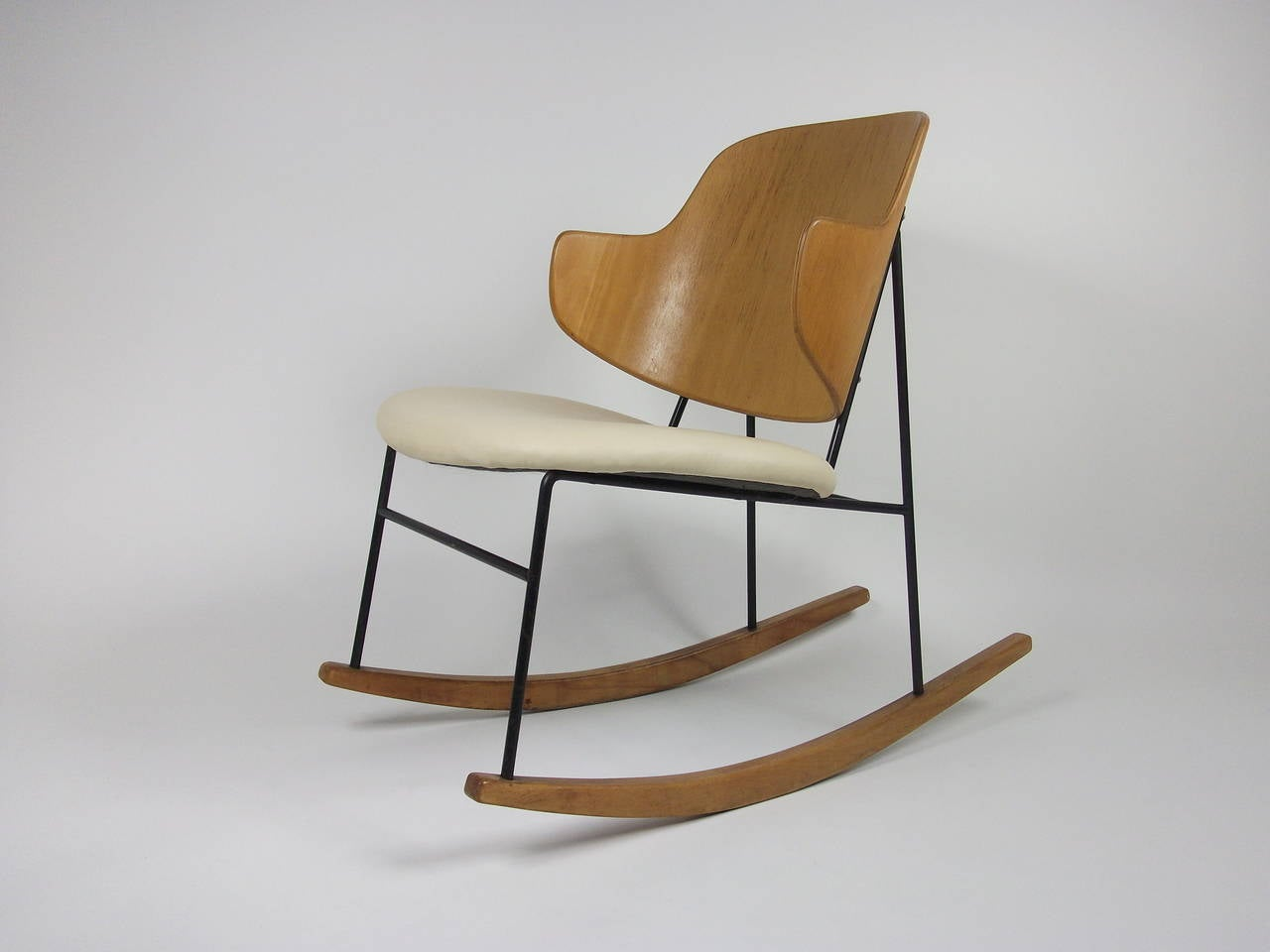 1950s Ib Kofod Larsen Penguin Rocking Chair Made In Denmark . Full resolution  img, nominally Width 1280 Height 960 pixels, img with #8B6437.