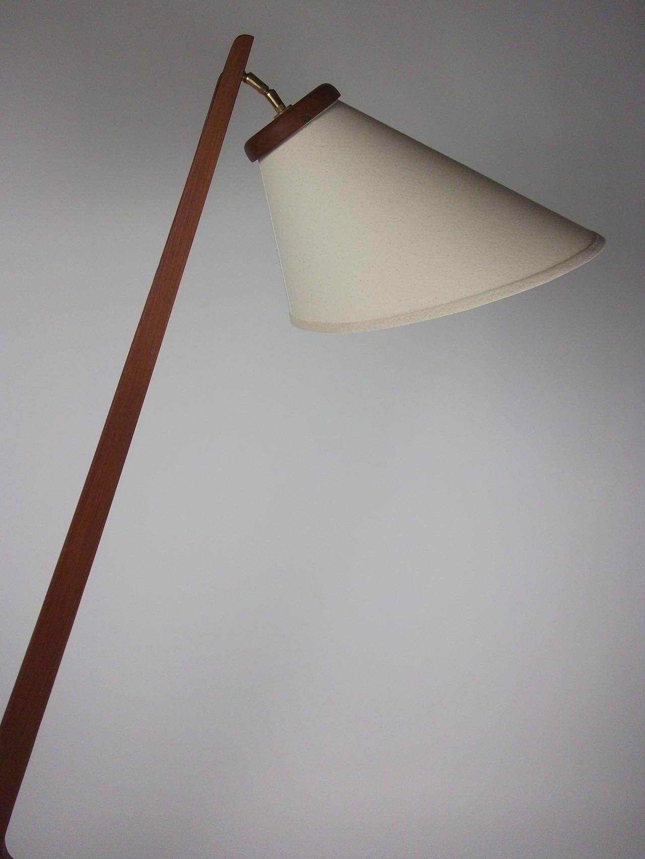 striking 1960s danish modern three leg teak floor lamp at 1stdibs. Black Bedroom Furniture Sets. Home Design Ideas