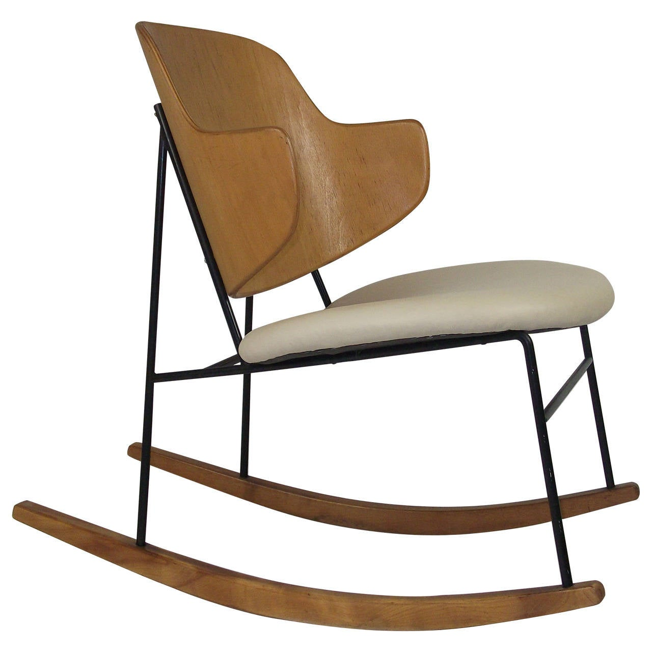 Ib Kofod Larsen Penguin Rocking Chair Made In Denmark At 1st . Full resolution  img, nominally Width 1280 Height 1280 pixels, img with #8D6338.