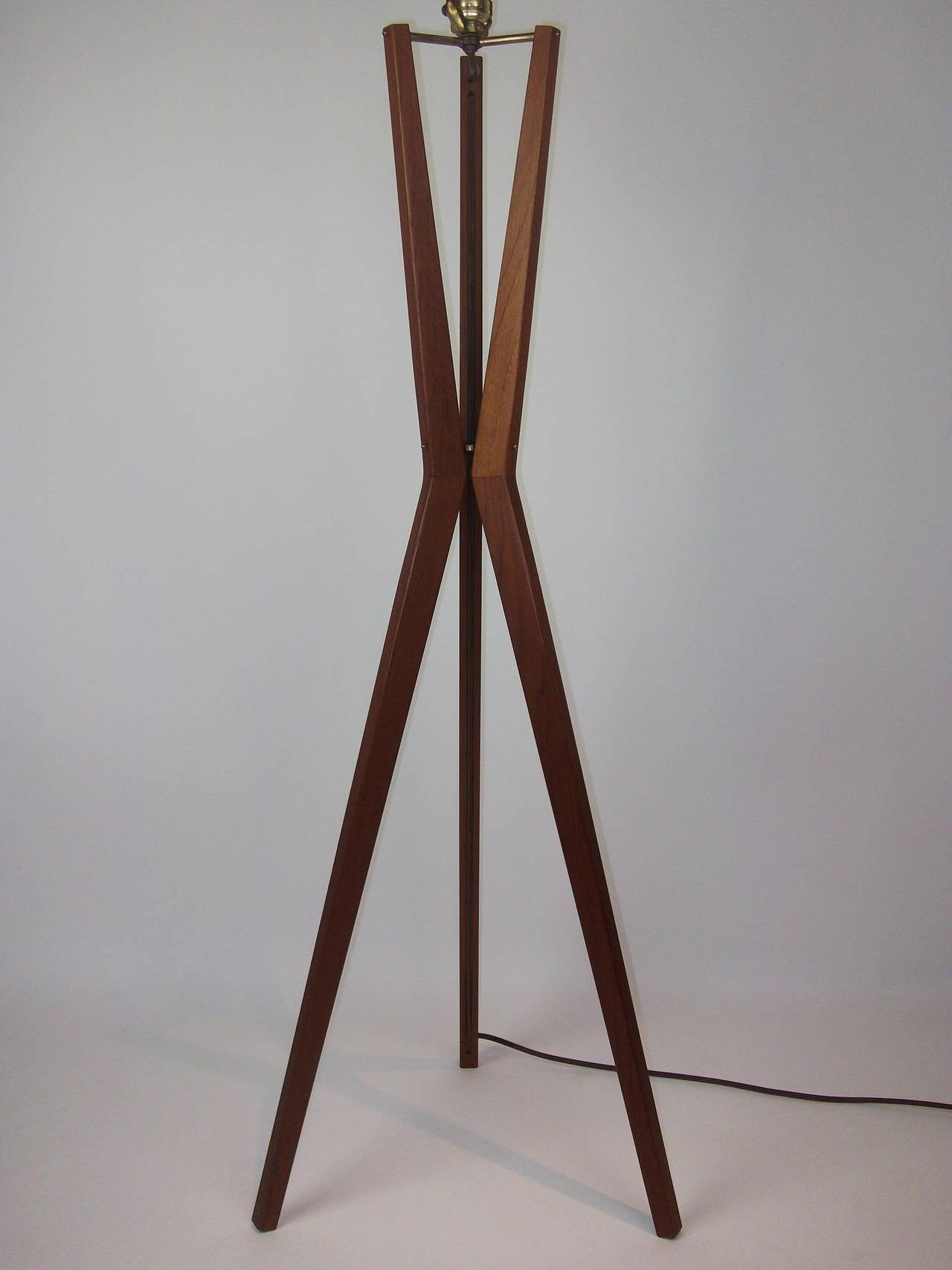 Striking 1960s Danish Modern Three Leg Teak Floor Lamp At 1stdibs