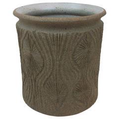 Signed Teardrop Sunburst Stoneware Planter by Artist Robert Maxwell