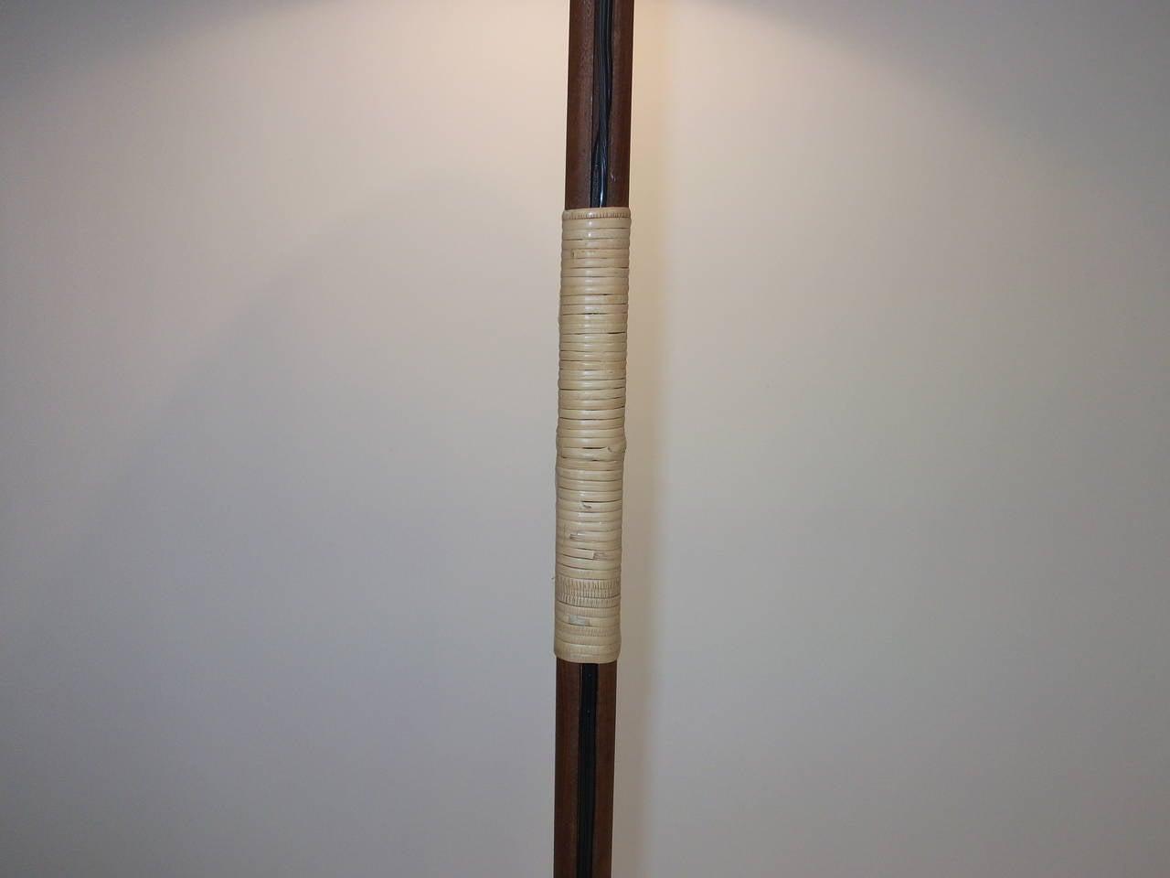 mid century modern three leg teak floor lamp at 1stdibs. Black Bedroom Furniture Sets. Home Design Ideas
