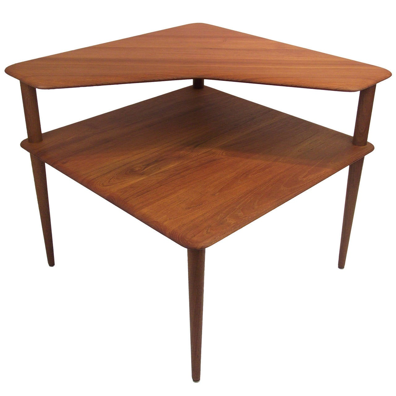 1950s Solid Teak Corner Table Designed By Peter Hvidt And