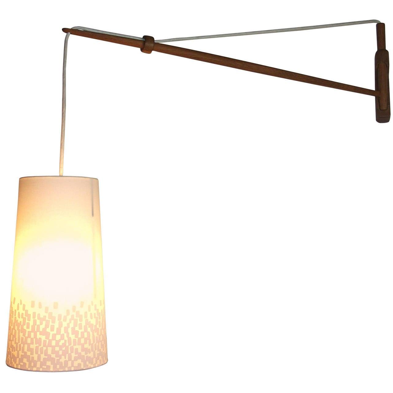 Adjustable Wall Lights Contemporary : Mid-Century Modern Adjustable Oak Wall Light Made in Denmark at 1stdibs