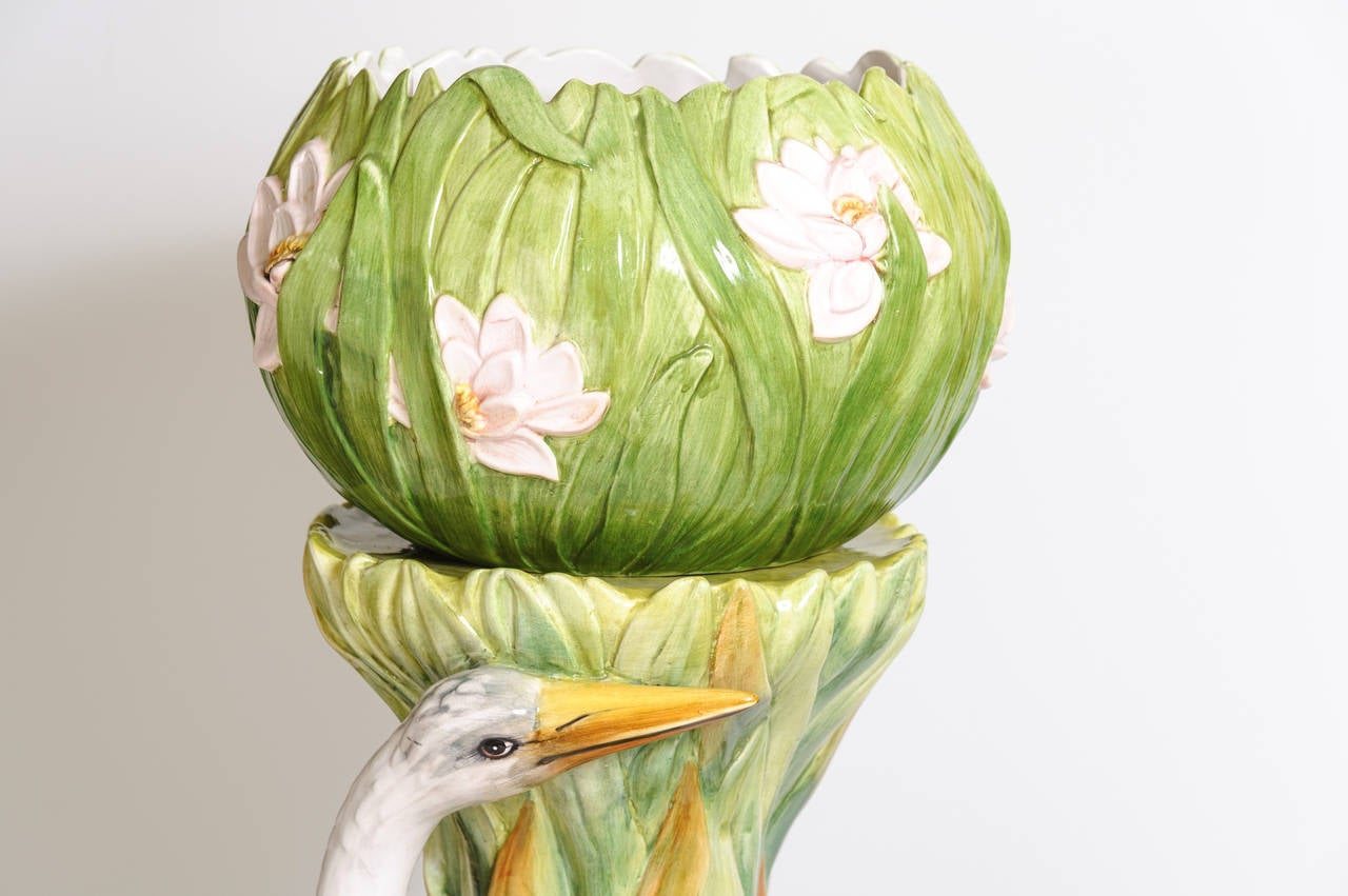 Great A Very Impressive Majolica Jardiniere / Figure Of Crane On A Stand With A  Separate Planter Images