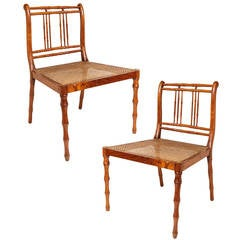 Pair of Unusual 19th Century Colonial Faux Bamboo Side Chairs with Caned Seats