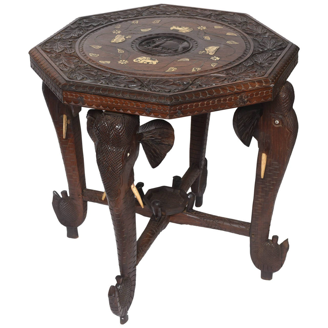 Carved Anglo Indian Elephant Motif Table 1