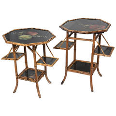 Superb Set of Antique English Bamboo Pastry Tables