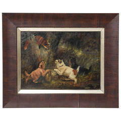 19th Century Oil of Dogs by George Armfield  Smith