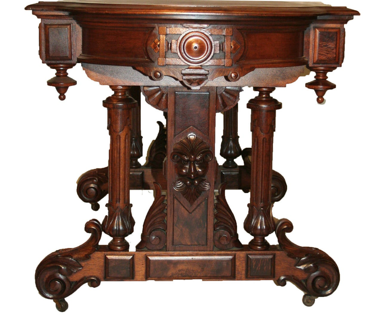 19th Century American Renaissance Revival Walnut Table And