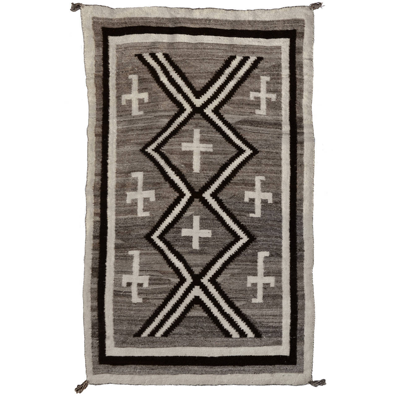 Navajo Rug With Spider Woman Cross And Whirling Logs 1900