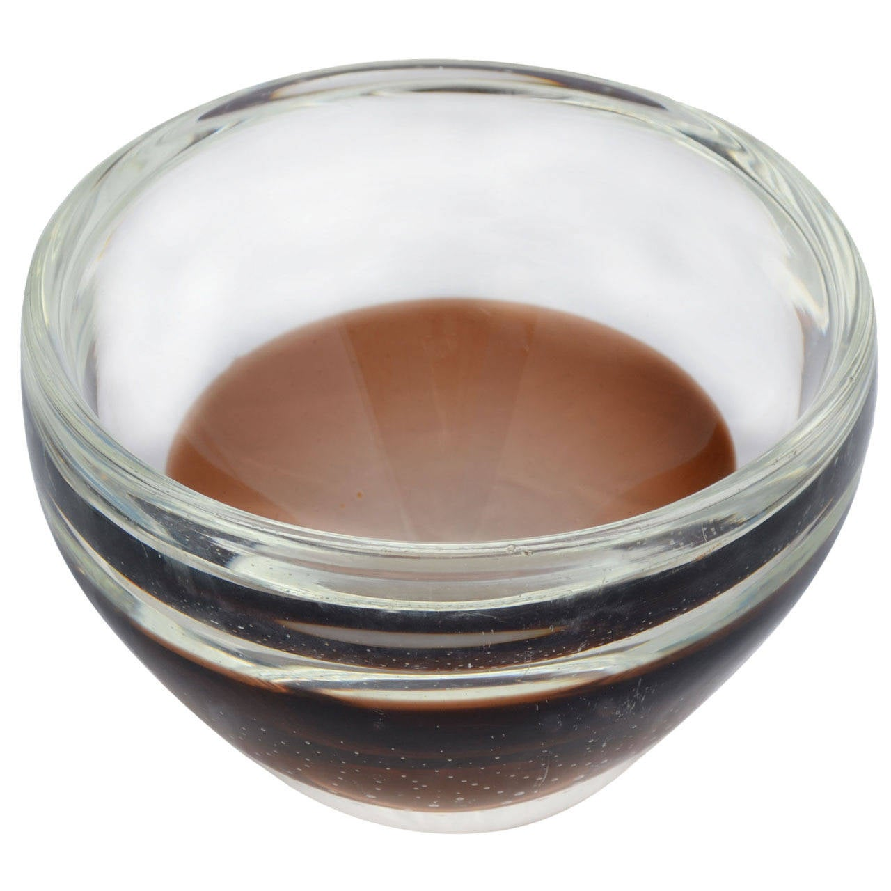 Kosta Boda Controlled Bubble Amber and Clear Bowl