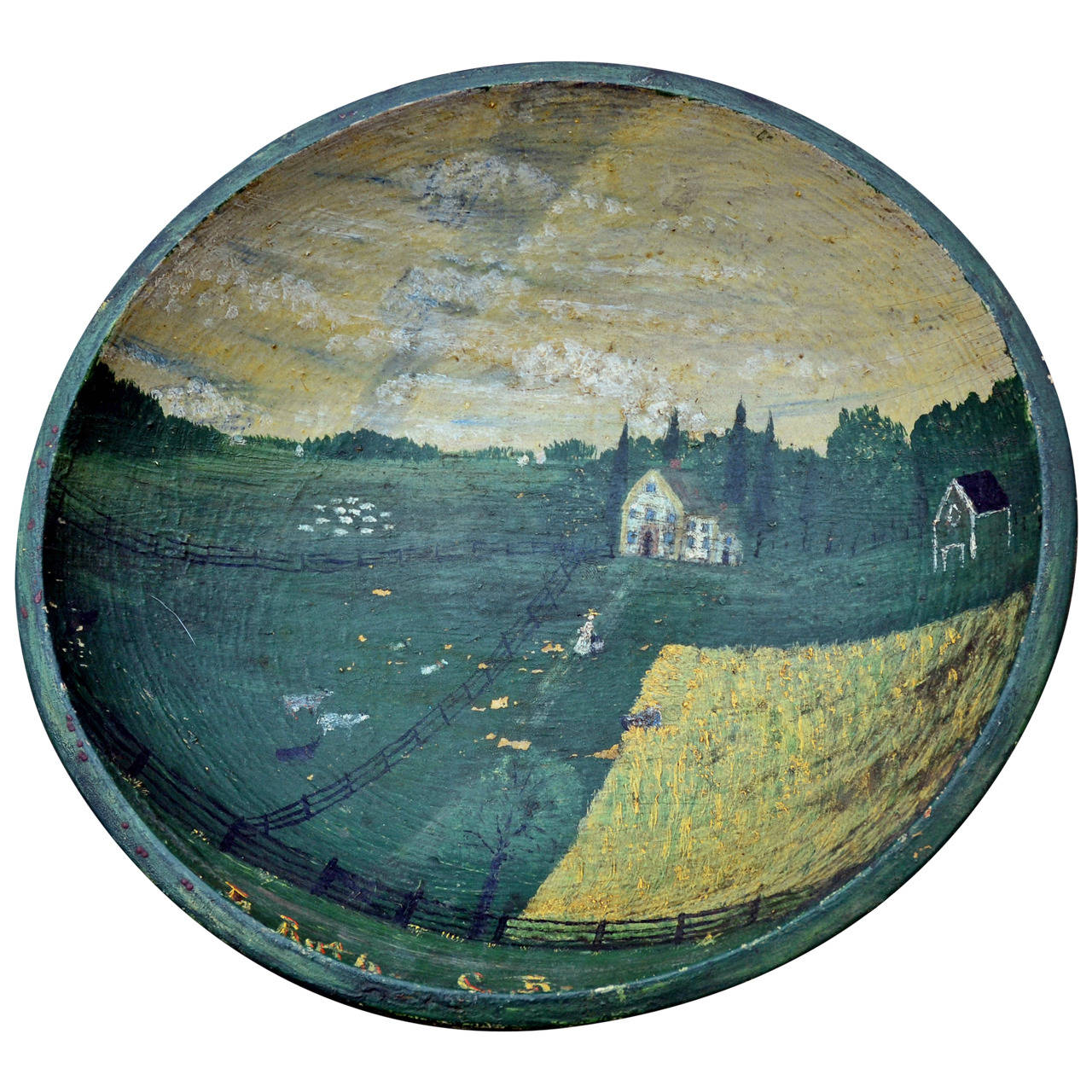 Folk Art Bowl with Tornado Landscape, circa 1850