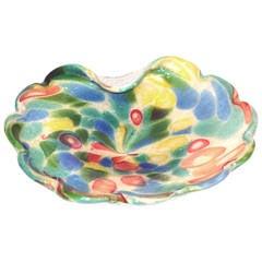 Vintage Murano Dino Martens Millefiori Silver Flake Folded Bowl