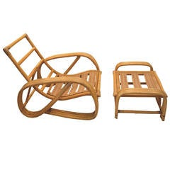 Paul Frankl Round Pretzel Lounge Chair and Ottoman