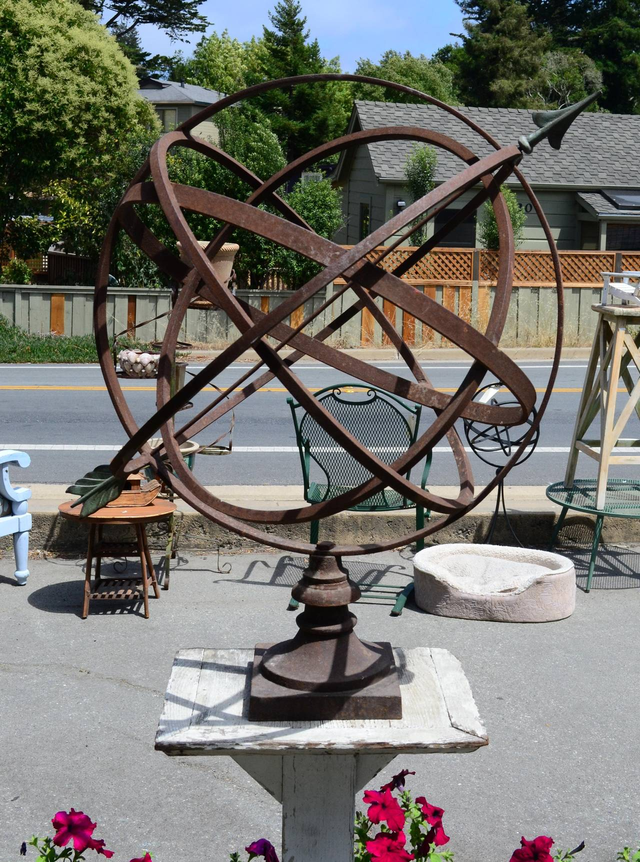 Large Scale Ionized Wrought Iron And Br Armillary Sundial Circa 1950s With Lovely Patina On