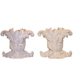 Pair of Large Italian Faience Glazed Acanthus Planters or Vases